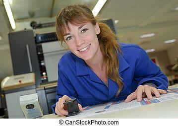 impresión, técnico, en el trabajo
