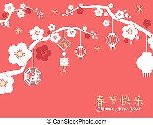 impresión, tarjeta, nuevo, chino, fondo rojo, año