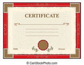impresión, vect, diploma, certificado