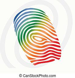 impresión, vector, dedo