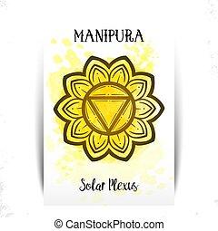 impresión, vector, saludo, o, camiseta, diseño, tarjetas, chakra, design., manipura., ilustración, cartel, empaquetado