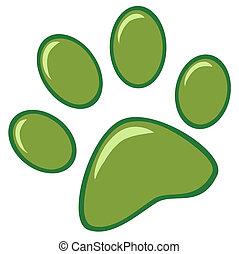 impresión, verde, pata