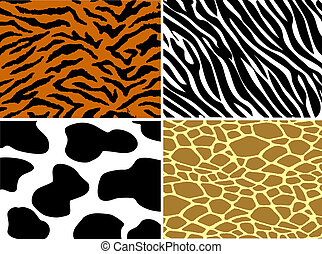 impresión, zebra, jirafa, tigre, vaca