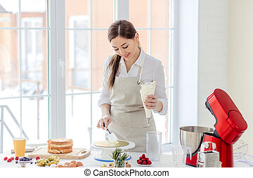 impresionante, cocina, pastel, niña, goza, feliz