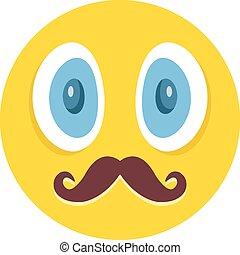 impresionante, emoticon, bigotes