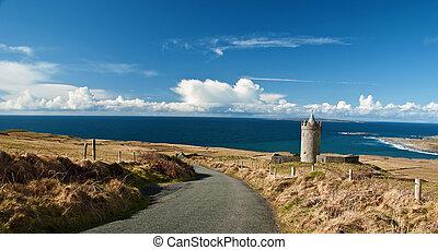 impresionante, escénico, costero, vibrante, hermoso, vista marina, irlandés