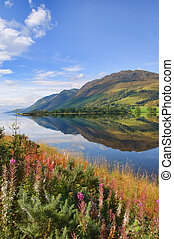 impresionante, escénico, naturaleza, montaña, agua, paisaje