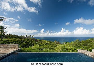 impresionante, hawaiano, cubierta, océano, piscina, vista