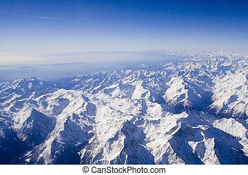 impresionante, nevoso, suizo, montañas, paisaje