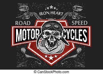 impresiones, camiseta, biker, emblems., vendimia, cráneo