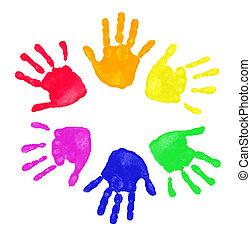 impresiones, colorido, manos