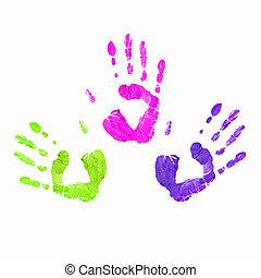 impresiones, colorido, manos humanas