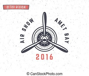 impresiones, elements., logotype., diseño, avión, emblem., vendimia, viaje, aislado, stamp., fondo., retro, blanco, logo., shirt., avión, label., textured, propulsor, aviación, insignias, aire, viaje, vector, t, biplano
