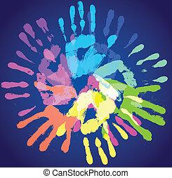 impresiones, multicolor, manos