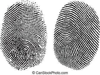 impresiones, vector, dedo