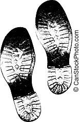 impresiones, viejo, versión, botas, vector, sucio, pie