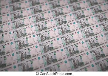 impreso, ruso, ilegal, muchos, falsificación, 1000, collage, conveyor., bills., producción, trabajo, concepto, cuentas, rubles, dinero, counterfeitters