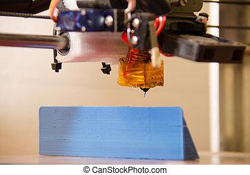 impresora, ángulo, bajo, 3d