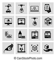 impresora, 3d, iconos, conjunto