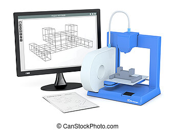 impresora, bosquejo, prototipo, 3d