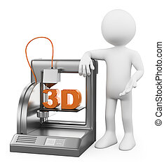 impresora, fundido, personas., deposición, blanco, 3d
