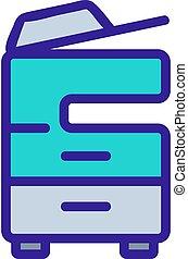impresora, ilustración, vector, icono, multifunctional, contorno