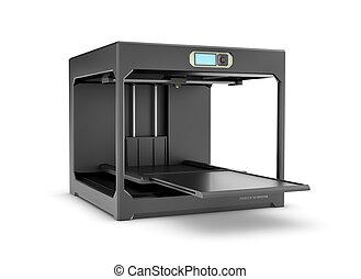 impresora, interpretación, aislado, escritorio, fondo., negro, blanco, 3d