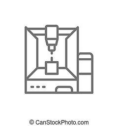 impresora, línea, dimensional, 3, profesional, modelo, icon...
