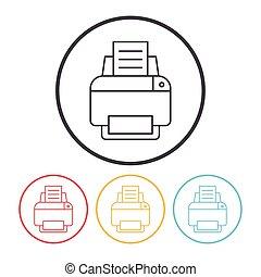 impresora, línea, icono