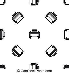 impresora, laser, patrón, moderno, seamless, negro