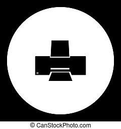 impresora, laser, simple, tinta negra, eps10, o, icono