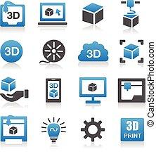 impressão, 3d, ícone
