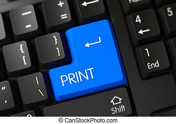 impressão azul, keyboard., 3d., tecla