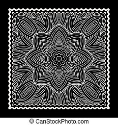 impressão, bandana, pretas
