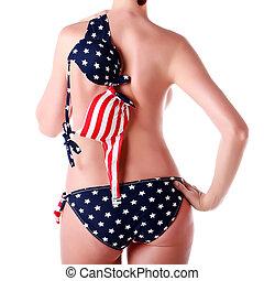 impressão, bandeira, mulher, biquíni, eua
