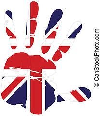 impressão, bandeira, reino unido, mão