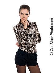 impressão, blusa, animal, posar, retrato, shorts, mulher, jovem