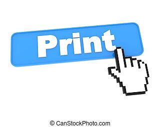 impressão, botão, cursor., mão