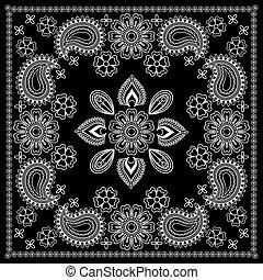 impressão, branca, pretas, bandana