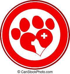 impressão, círculo, veterinário, amor, pata