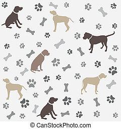 impressão, cachorros, fundo, pata