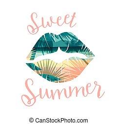 impressão, cartão, cartazes, camisetas, outro, uses., verão, slogan, praia tropical