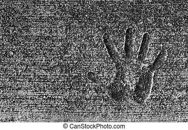 impressão, cimento, mão