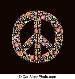 impressão, com, paz, flor, símbolo