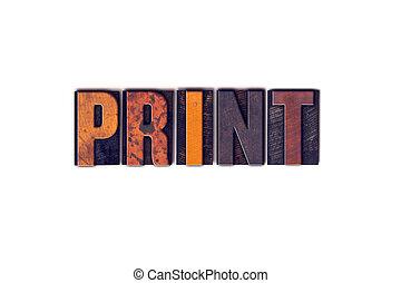 impressão, conceito, tipo, isolado, letterpress
