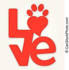 impressão, coração, -, amor, pata