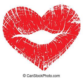 impressão, coração, lábio