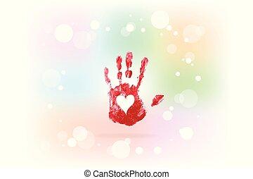 impressão, coração, mão, amor, logotipo