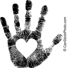 impressão, coração, mão