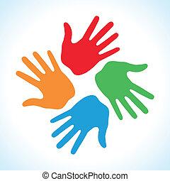impressão, cores, mão, 4, ícone